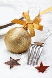 圣诞节冬天餐位餐具 免版税库存照片