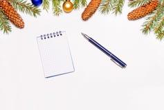 圣诞节冷杉分支、新年的玩具和锥体在框架中间记录目标的笔记本和笔新年 库存图片