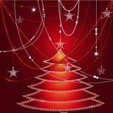 圣诞节冷杉木和小珠在红色背景 免版税库存图片