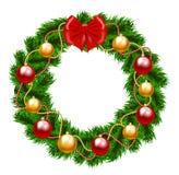 圣诞节冷杉木花圈 免版税图库摄影