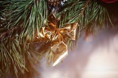 圣诞节冷杉木,一张新年明信片的设计的弓 火光拷贝空间 免版税库存照片