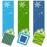 圣诞节减速火箭的礼物垂直横幅 免版税图库摄影