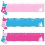 圣诞节减速火箭的袜子水平的横幅 库存图片