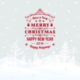 圣诞节减速火箭的贺卡和背景与手拉的圣诞树和祝贺 免版税库存照片