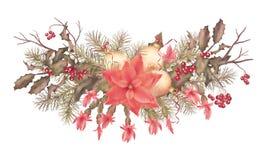圣诞节减速火箭的水彩假日诗歌选 向量例证