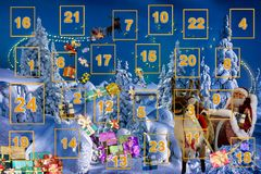 圣诞节出现日历,背景 库存照片