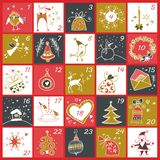 圣诞节出现日历 寒假海报 向量例证