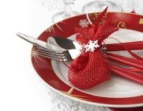 圣诞节刀叉餐具集 免版税库存图片