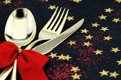 圣诞节刀叉餐具 库存照片
