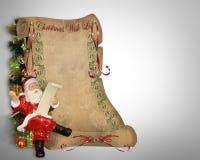 圣诞节列表羊皮纸圣诞老人愿望 免版税库存图片
