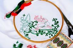 圣诞节刺绣 免版税库存照片