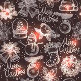 圣诞节剪影无缝的样式 免版税库存照片