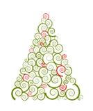 圣诞节剪影漩涡结构树 免版税库存照片