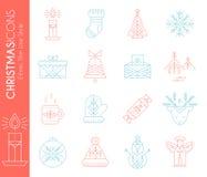 圣诞节剪报包含被设置的数字式图标例证路径 创造性的线型设计元素的汇集 皇族释放例证