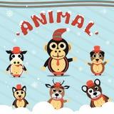 圣诞节动物汇集集合 免版税图库摄影