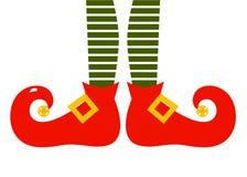 圣诞节动画片elfs腿 免版税库存图片