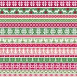 圣诞节北欧条纹边界样式 免版税库存图片