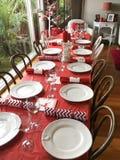 圣诞节午餐的表设置 免版税图库摄影