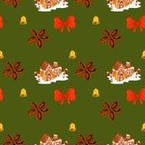 圣诞节华而不实的屋桂香、弓和响铃样式 库存图片