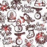 圣诞节单色无缝的样式 免版税图库摄影