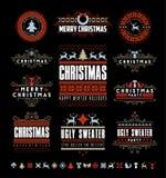 圣诞节印刷和书法葡萄酒标签, 免版税库存图片