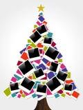 圣诞节即时照片框架结构树 免版税图库摄影