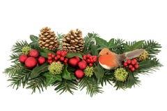 圣诞节卷毛装饰欢乐查出的丝带白色 库存照片