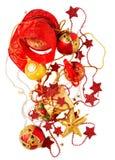 圣诞节反对白色的装饰背景 图库摄影