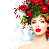 圣诞节发型和构成 免版税库存照片