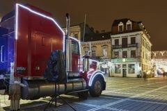 圣诞节可口可乐卡车 库存照片