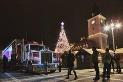 圣诞节可口可乐卡车 免版税库存图片