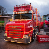 圣诞节可口可乐图标式的卡车 免版税库存图片