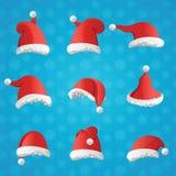 圣诞节各种各样的帽子在蓝色背景的动画片样式设置了 库存例证