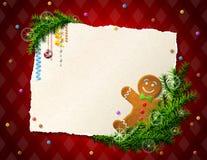 圣诞节名单的纸与姜饼人 图库摄影