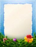 圣诞节名单的纸是在杉木分支后 库存图片