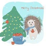 圣诞节和冬天与装饰杉树和圣诞快乐词组的可爱的猬的传染媒介例证 皇族释放例证