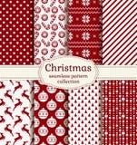 圣诞节和冬天无缝的样式 动画片重点极性集向量 图库摄影