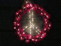圣诞节和平花圈在晚上 免版税库存照片