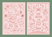 圣诞节和新年与在画的欢乐装饰的明信片的汇集模板线艺术样式-响铃 皇族释放例证