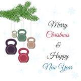 圣诞节和新年与kettlebells的贺卡和杉木分支 图库摄影