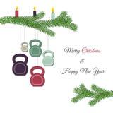 圣诞节和新年与kettlebells的贺卡和杉木分支 免版税库存照片