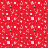 圣诞节和新年仿造与闪烁星和装饰元素的背景 库存图片