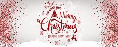 圣诞节和新年印刷在与金子闪烁纹理的白色背景 皇族释放例证