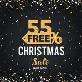 圣诞节和新年快乐打折销售例证横幅 55%购物车设计 免版税库存照片