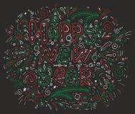 圣诞节和新年快乐红色和绿色字法 库存照片