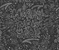 圣诞节和新年快乐黑白字法 免版税库存图片