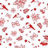圣诞节和新年无缝的背景样式 装饰节假日美好的主题冬天 免版税库存图片
