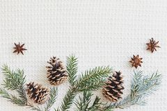 圣诞节和新年构成 冷杉分支与锥体,在被编织的白色背景的八角 免版税库存图片