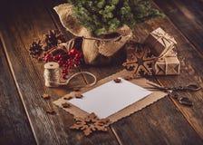圣诞节和新年构成 免版税库存照片
