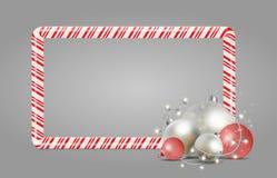 圣诞节和新年糖果框架 明亮的星和球Y的 库存例证